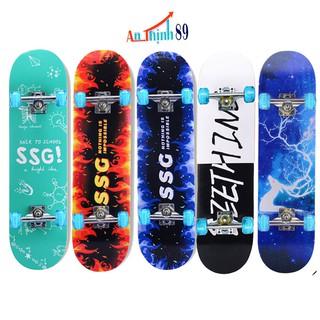 Ván trượt thể thao skateboard, mặt nhám bánh phát sáng, gỗ phong ép 7 lớp