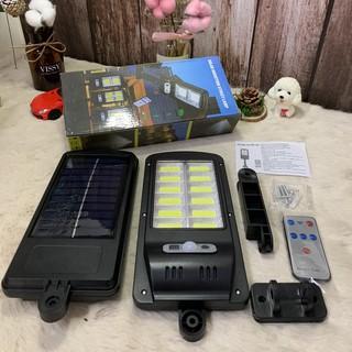 Đèn Năng Lượng Mặt Trời Solar Street Lamp 12 Bóng Led (120 Cob) Cảm Biến Chuyển Động Kèm Điều Khiển Tắt Bật Từ Xa