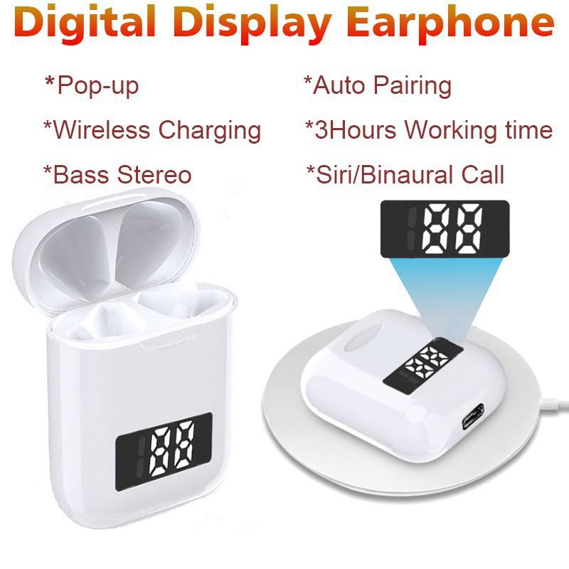 Tai nghe bluetooth i99 hỗ trợ sạc không dây có đèn led hiện thị pin