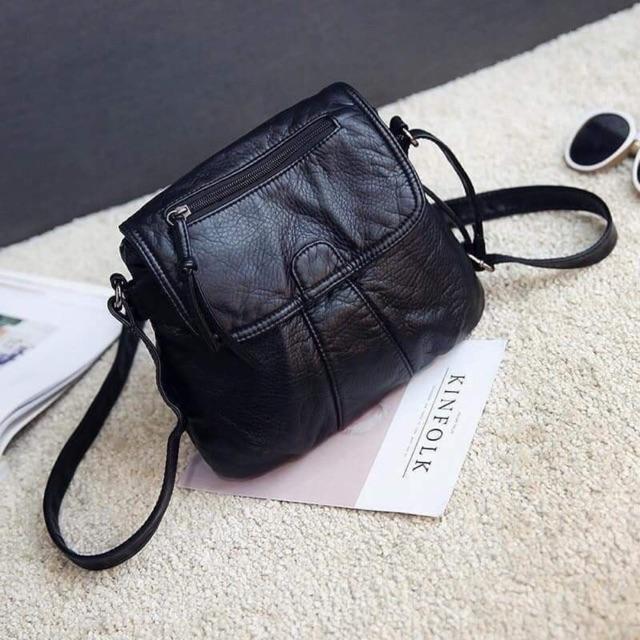 Túi xách da mềm đeo chéo (đen) siêu hót