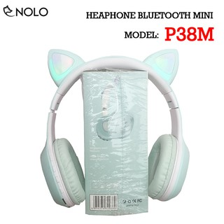 Tai Nghe Chụp Tai Headphone Bluetooth V5.0 P38M Kiểu Dáng Tai Mèo Có Đèn Led Hỗ Trợ Nghe Qua Dây Cắm AUX