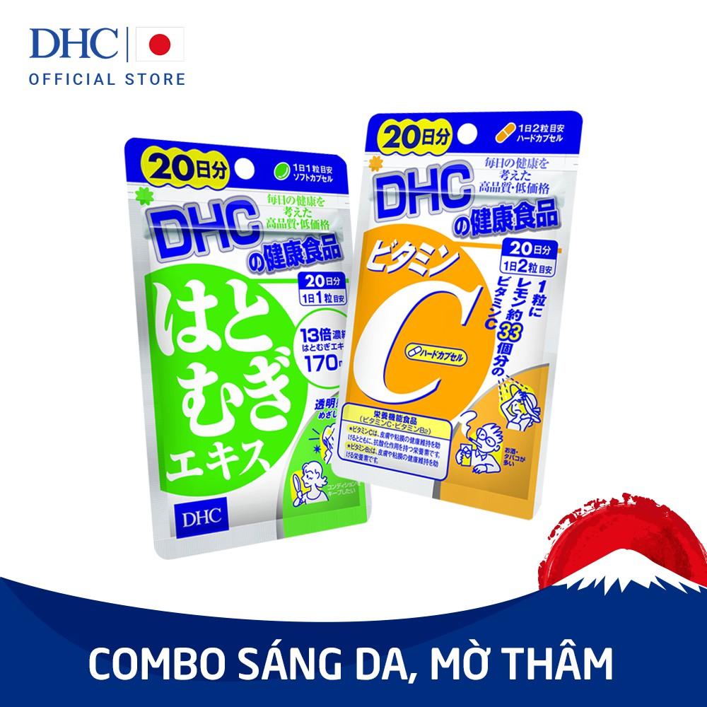 Combo Viên uống DHC Sáng da - Mờ thâm Viên uống Adlay (20v) và Viên uống Vitamin C (40v)