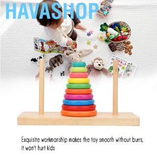 Havashop Kids Baby Wooden Stacking Ring Tower Educational Toys Rainbow Stack Up Play Gift