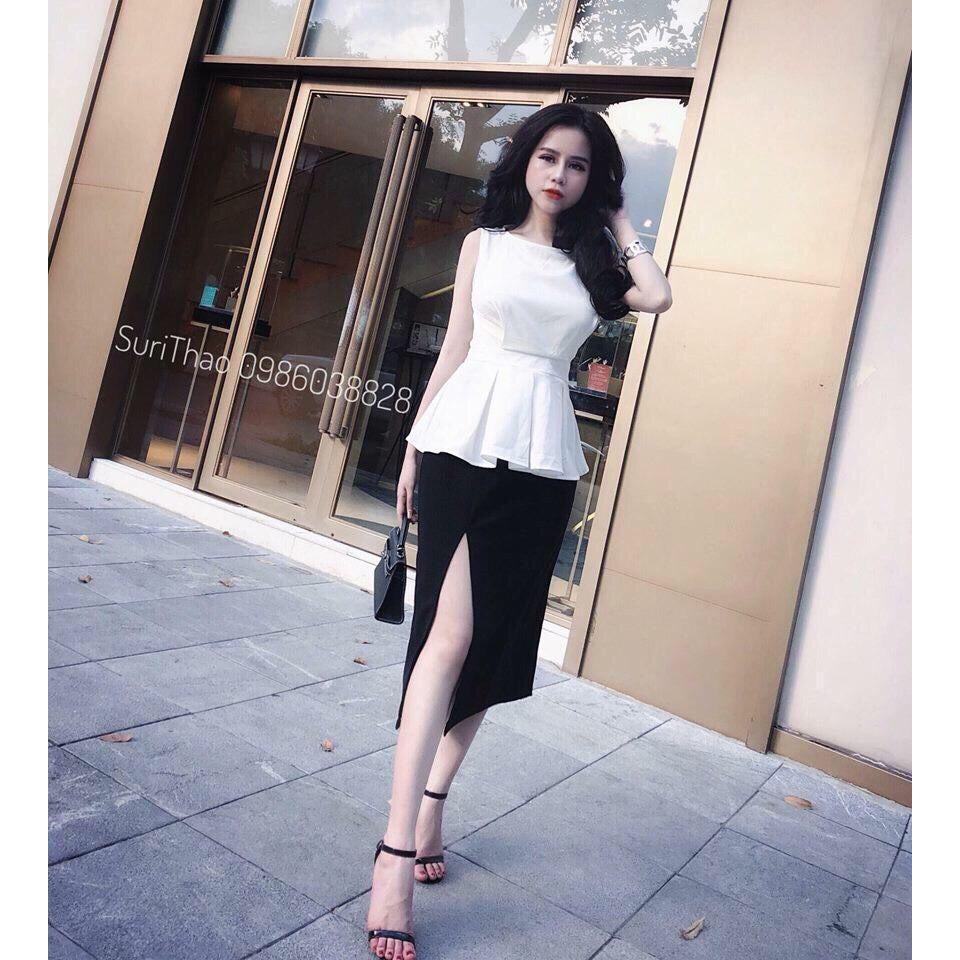 5200246674 - Set áo trắng sát nách + chân váy xẻ. Áo chất kate,chân váy kaki thun. Có 1 màu. Size dưới 54kg vừa nha