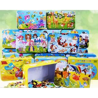 Ghép hình puzzle 60 mảnh hộp sắt nhiều mẫu