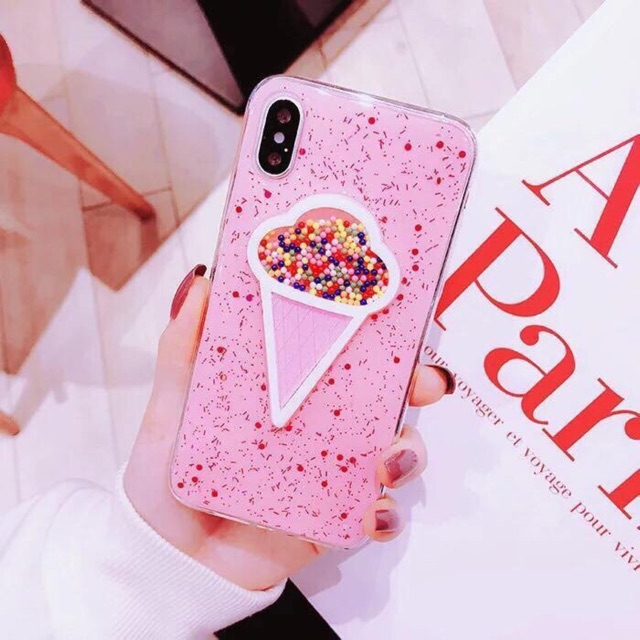 Ốp Kem Nhũ Hồng - Siêu Cute - Cho Iphone 6plus/7plus/X