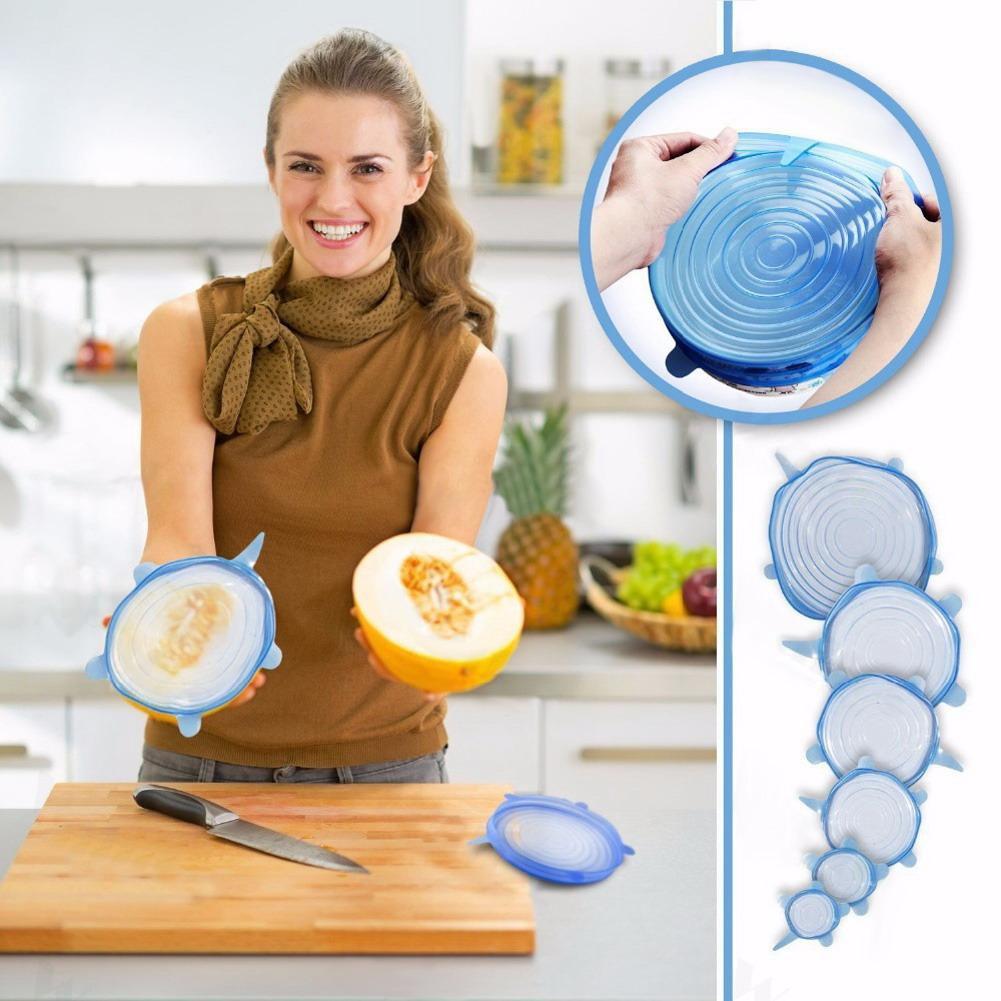 Bộ 6 miếng màng bọc thực phẩm silicon co giãn