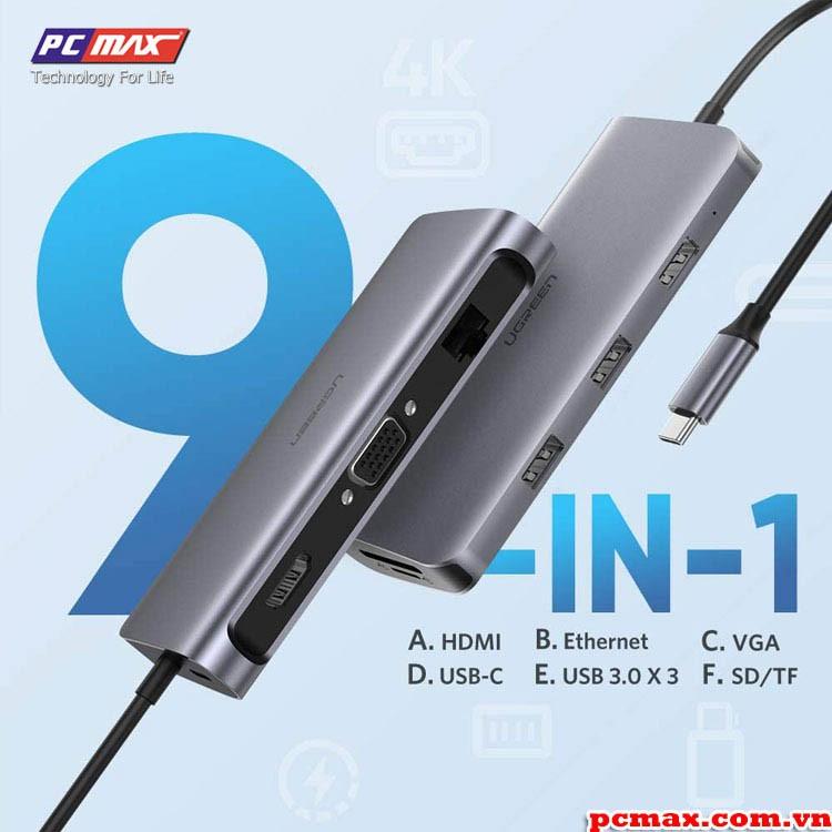 [Mã 267ELSALE hoàn 7% đơn 300K] Hub USB type C sang USB 3.0, HDMI, LAN, typeC, SD card Ugreen 40873 - Hàng chính hãng