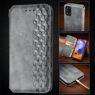 Luxury Leather Wallet Magnetic Flip case For Samsung Galaxy A31 A41 A11 A10 Samsung M10 M21 M31 PU Leather Card Slot Phone Case With Stand Holder