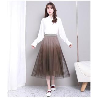 Chân Váy Nữ Dài Voan 3 Lớp Cạp Cao Kiểu Dáng Hàn Quốc – Chân Váy Eo Thun Cách Ly Dáng Chữ A 2 Màu Nâu Và Trắng