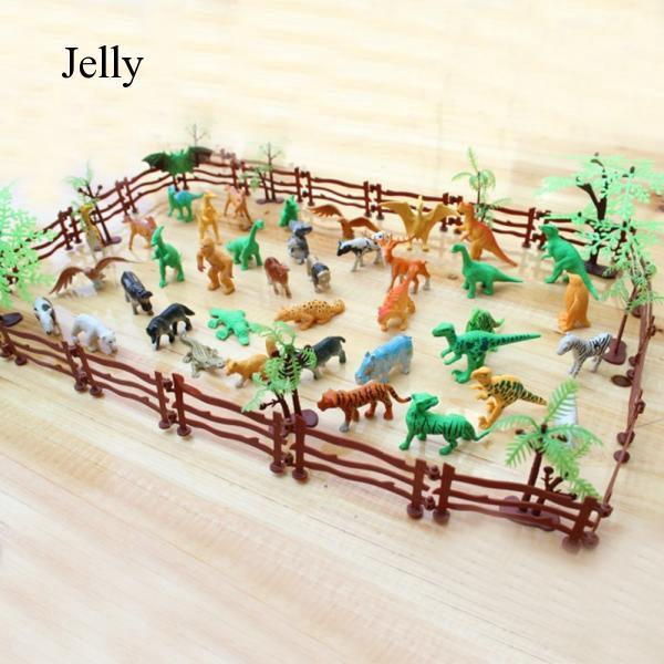 68 PCS Kids Miniature Plastic Zoo Tree Animal Tiger Toy Animals Toys J114