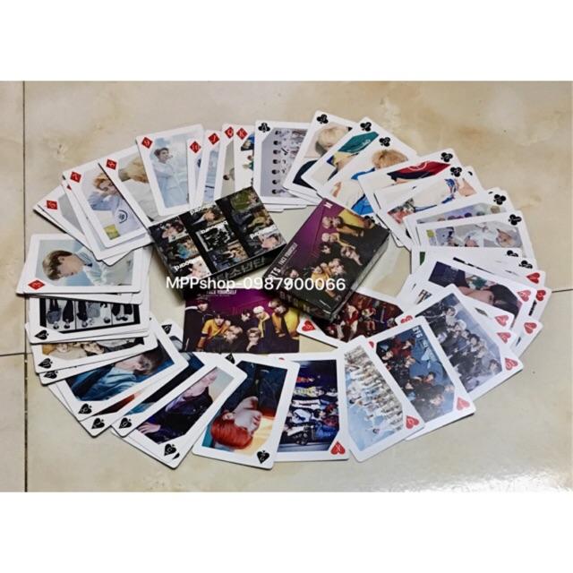 Bộ bài BTS chất liệu giấy ảnh đẹp 2 mặt ảnh 54 quân bài 54 ảnh khác nhau