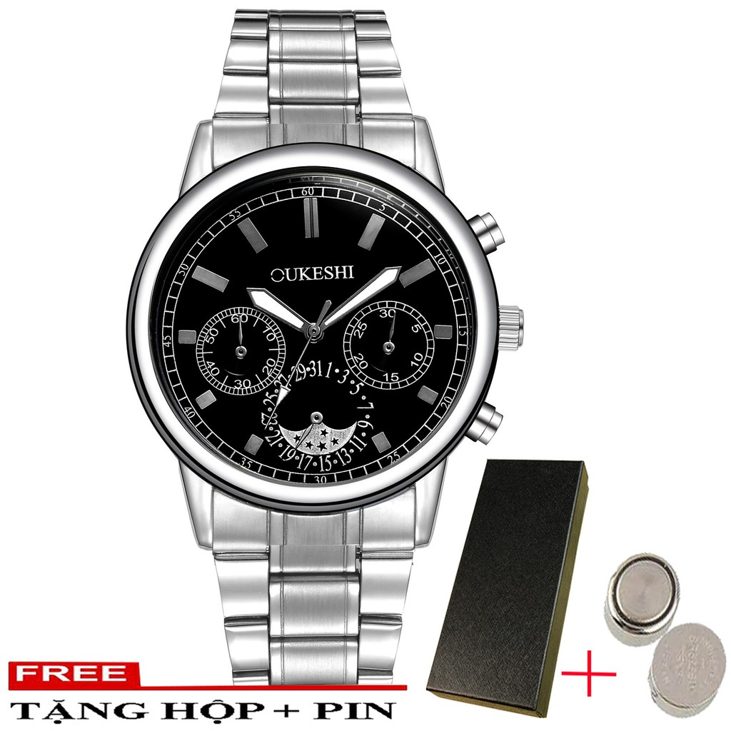 (FULL BOX) Đồng hồ nam OUKESHI O9877 dây thép không gỉ cao cấp