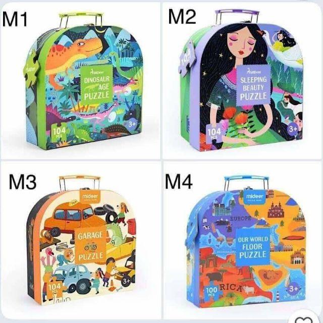 Xếp hình puzzle vali Mideer 104 miếng (Tặng file nghe Tiếng Anh cho bé)