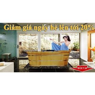 Bồn tắm gỗ thồng dai Oval gỗ thông nhập khẩu
