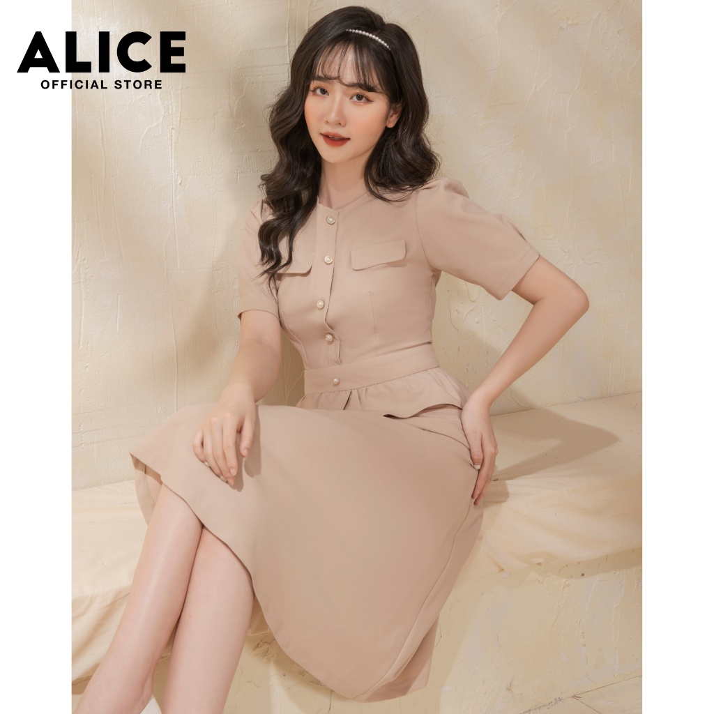 Mặc gì đẹp: Sang trọng với Đầm Công Sở Dáng Xòe ALICE V705, Đầm Thiết Kế Eo Bánh Bèo Dáng Sơ Mi Cổ Tròn Tay Ngắn Độc Đáo