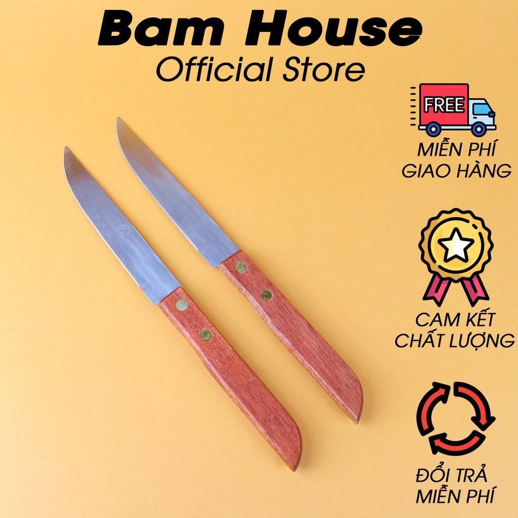Bộ 2 dao bếp gọt trái cây inox Bam House cán gỗ cao cấp DTL03 – Gia dụng bếp