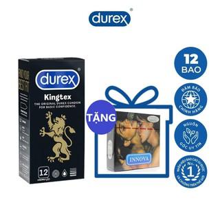 Combo 1 hộp bao cao su size nhỏ 49mm Durex Kingtex 12 cái tặng 1 hộp bcs gân gai kéo dài thời gian INNOVA 3 cái