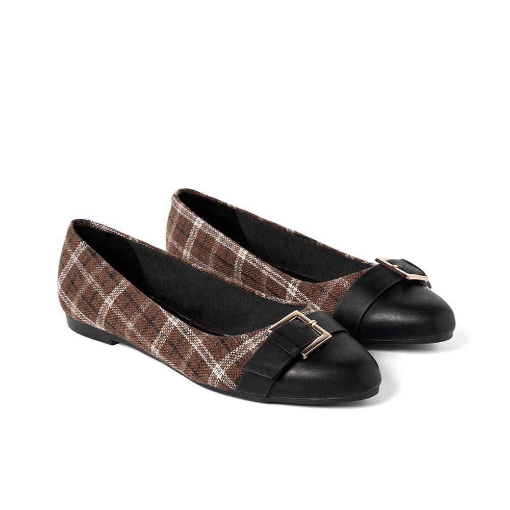 JUNO - Giày búp bê họa tiết caro - BB