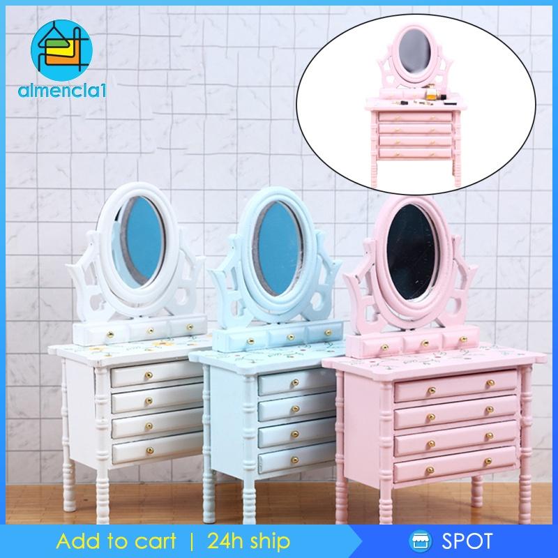 [ALMENCLA1] Dollhouse Miniature Furniture 1/12 Scale Kids Dressing Table Bedroom Decor