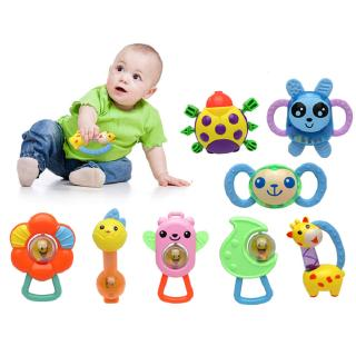 8PCS Baby Cute Rattle Tooth Gum Cartoon Colorful Molar Stick Training Tooth Toy