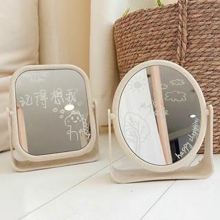Gương trang điểm để bàn lúa mạch 2 mặt gương xoay 360 độ kèm bút