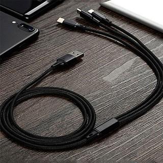 Cáp sạc 3 đầu đa năng KLH 3D, dây sạt nhiều đầu dọc dù chống đứt iphone micro typec dài 1m 5