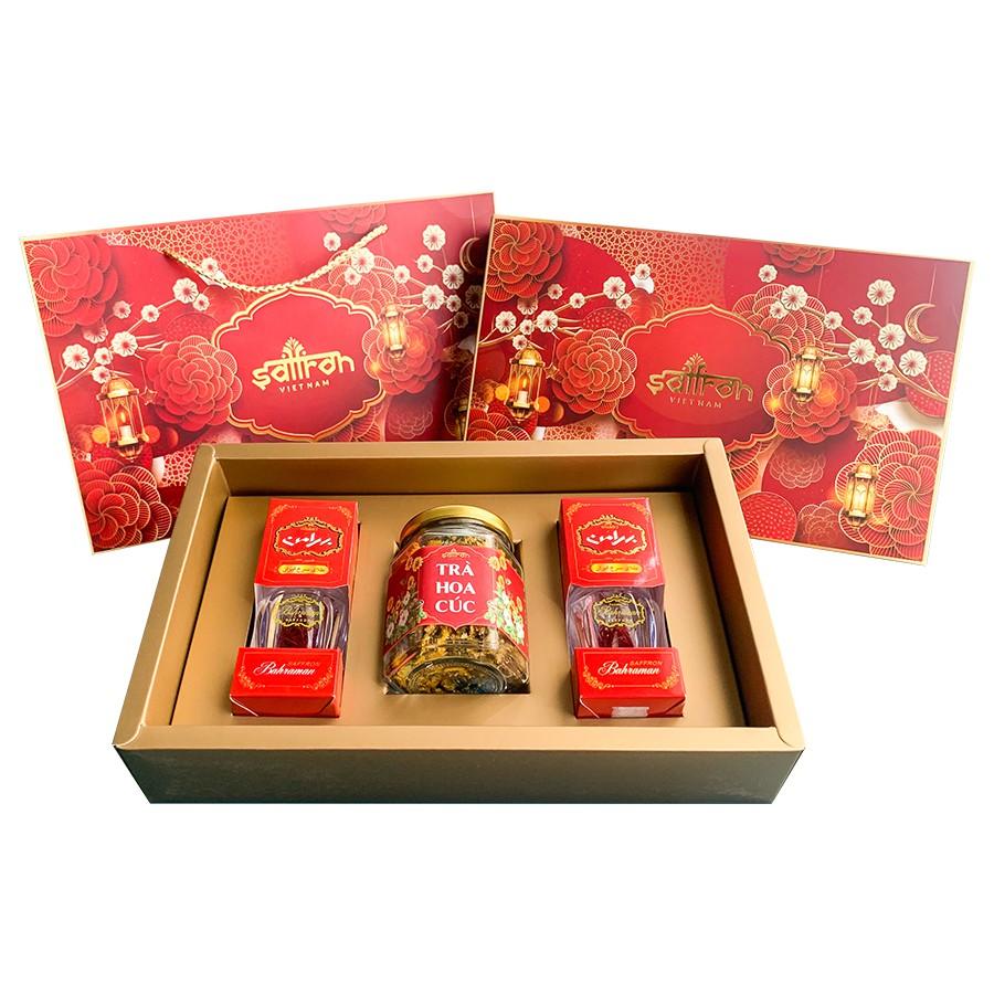 Quà Tết Nhụy Hoa Nghệ Tây Saffron Bahraman 2 hộp 1Gram/hộp Tặng Hoa Cúc 8 Gram