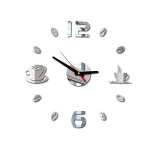 Sticker đồng hồ nhựa Acrylic 3D tráng gương hình tách cà phê độc đáo dán trang trí tường DIY