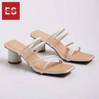 Hình ảnh Dép cao gót Erosska thời trang mũi vuông phối dây quai mảnh cao 5cm màu kem _ EM038-1