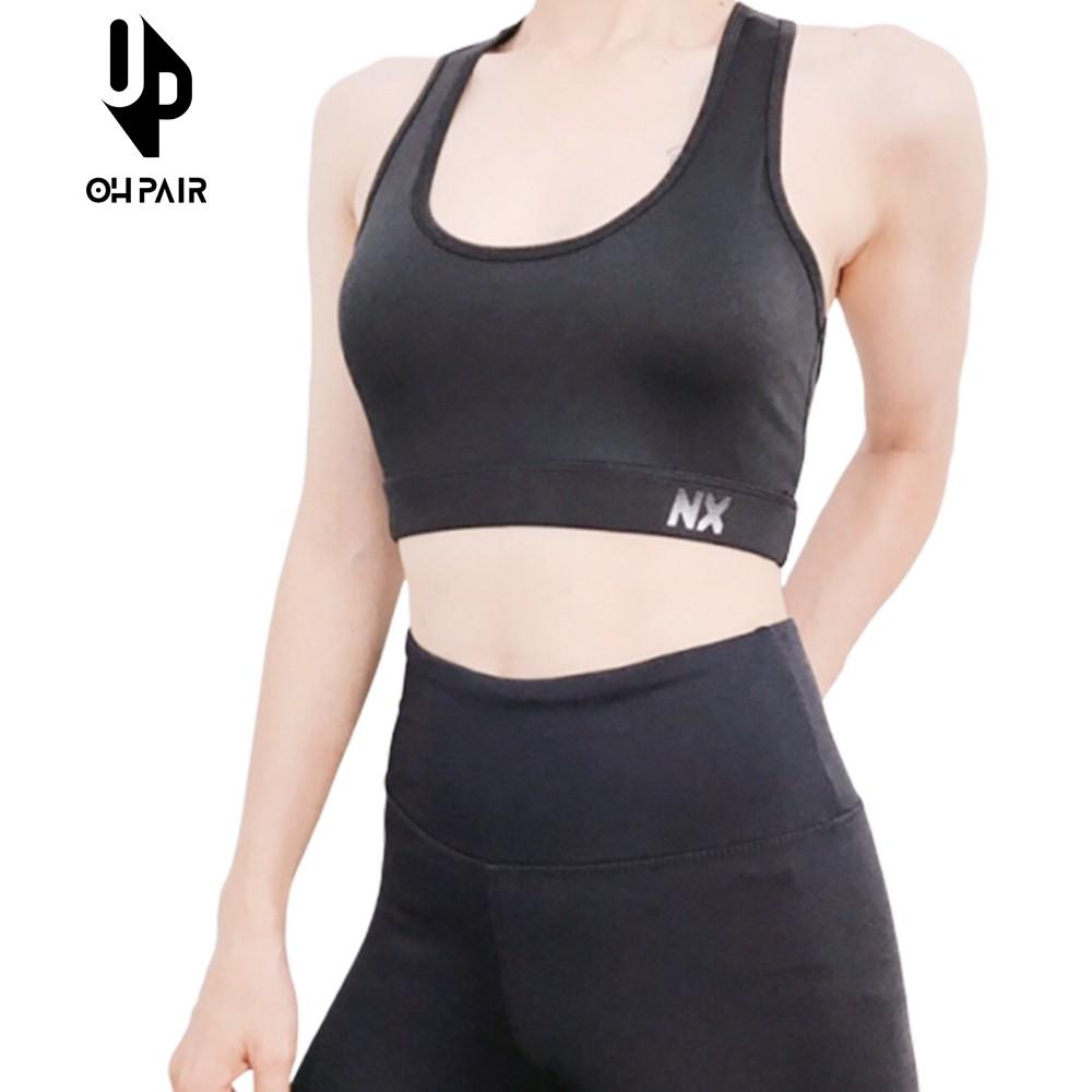 Áo Bra tập Yoga, Gym, Aerobic màu đen thun 4 chiều mát lạnh thấm hút mồ hôi cực tốt OPY53