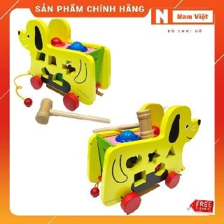 Đồ chơi học khối, Xe cún thả hình đa năng kết hợp đập banh gỗ