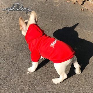 [Mã PETMS03 giảm 10% đơn 199K] Áo đông cho chó mèo Supre có 2 màu đỏ, đen Hoodie nỉ bông thumbnail