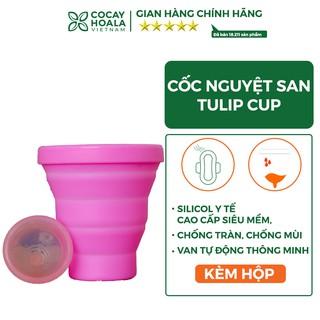 Cốc Nguyệt San Cocayhoala Tulip Cup 100% Silicone Y Tế Cao cấp Siêu Mềm, Chống tràn, chống mùi, Van tự động thông minh
