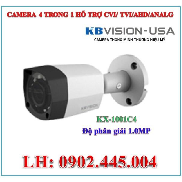 Camera quan sát 1.0MP KBVISION KX-1001C4 ( hỗ trợ CVI/TVI/AHD/ANALOG )