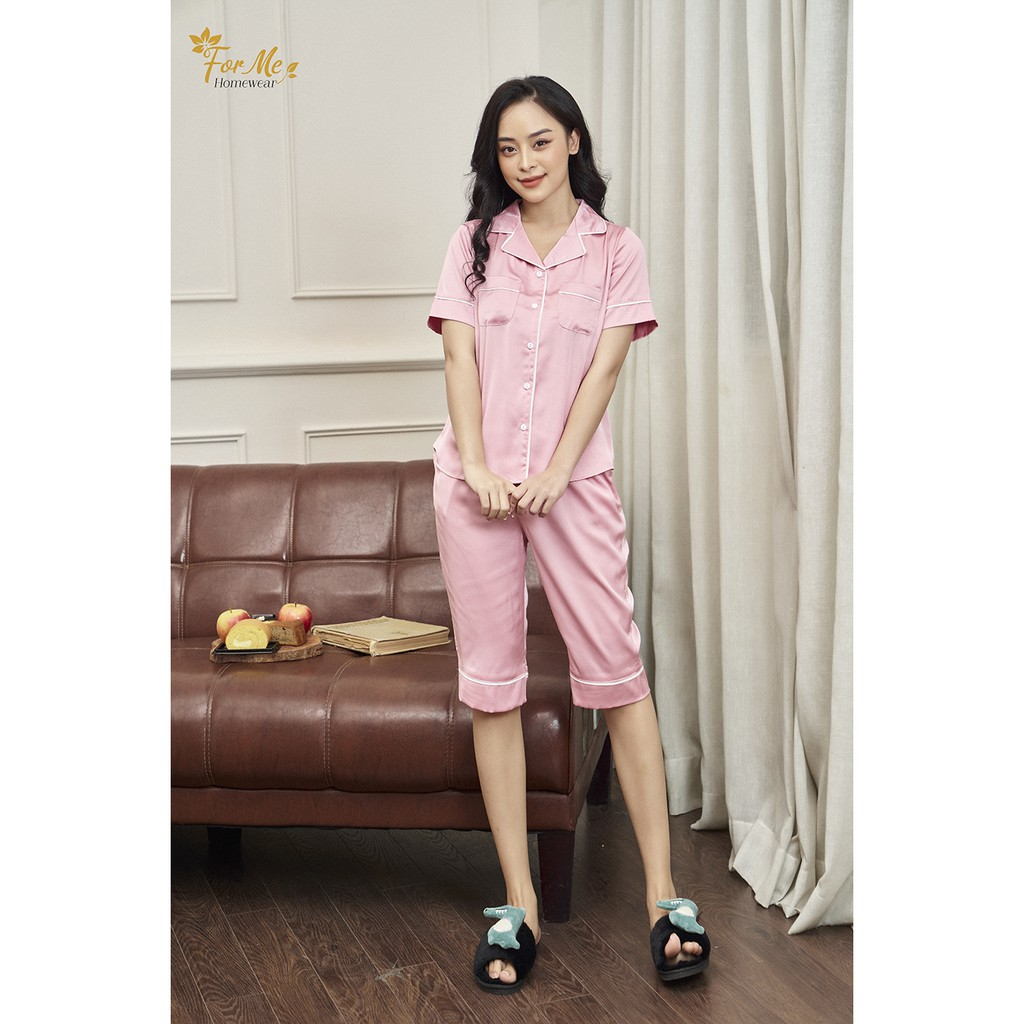 Mặc gì đẹp: Mát mẻ với  Bộ đồ ngủ, mặc nhà chất Lụa Giấy Luxury quần Lửng TRƠN 2 TÚI ,forme pijama