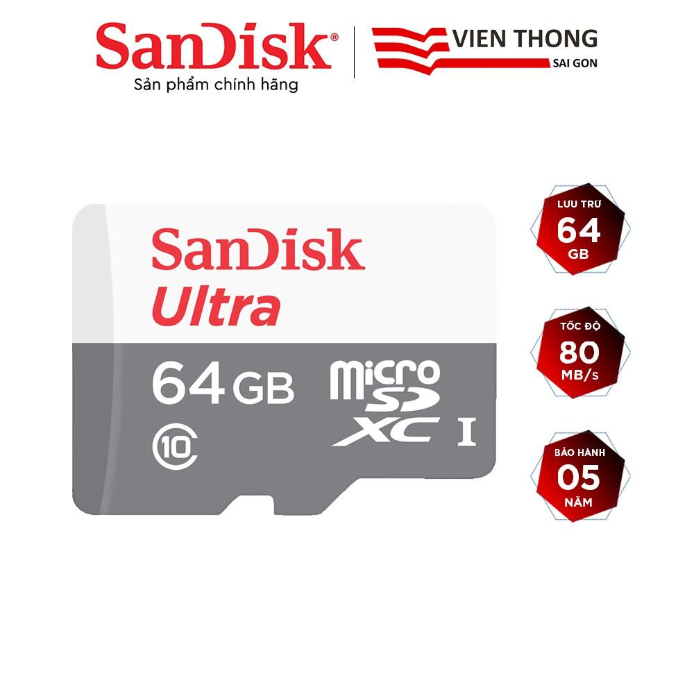 Thẻ nhớ microSDXC SanDisk 64GB Ultra 533x upto 80MB/s - Hãng phân phối chính thức