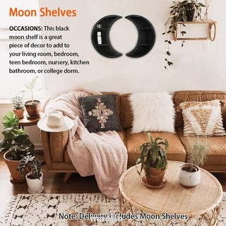 2pcs Bedroom Wall Hanging Nursery Rustic Crystals Essential Oil Easy Install Wooden Moon Shelf