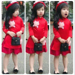 Sét áo dài gấm cao cấp 3ct bé gái size 1-10(8-35kg) đỏ, hồng phấn