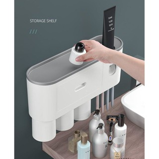 Kệ để đồ nhà tắm hút chân không 2 cốc, 3 cốc – Bộ nhả kem đánh răng siêu tiện lợi cho mọi gia đình