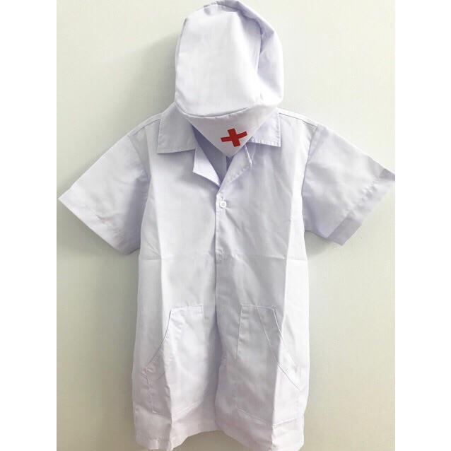 Áo Bác Sĩ Cho Bé Tập Làm Bác Sĩ Form Đẹp Chất Vải Tốt