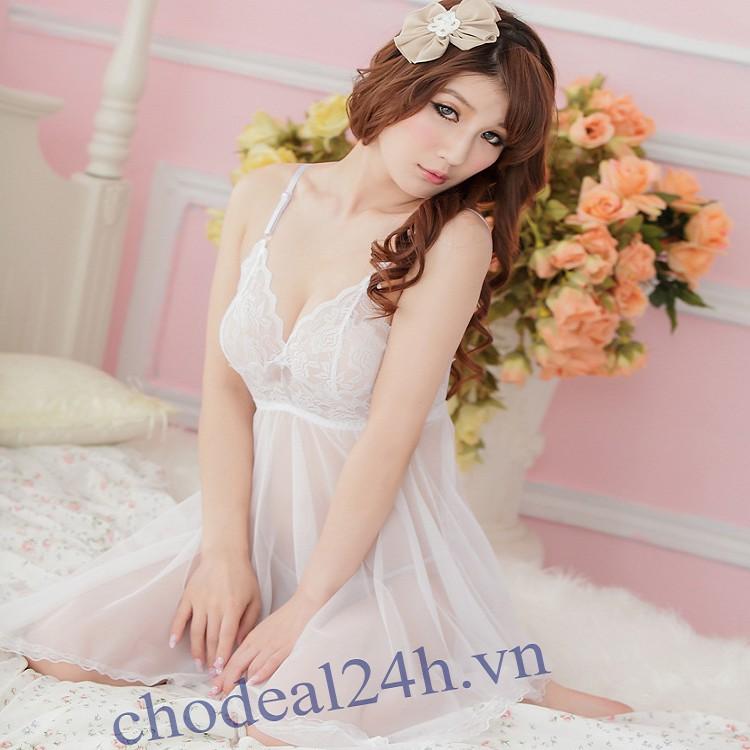 Áo đầm ngủ quyến rũ CDAN01 - Trắng
