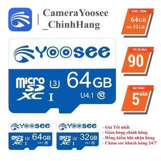 Thẻ nhớ 64GB/32GB YOOSEE Class 10 90Mb/s, Thẻ nhớ Yoosee chuyên camera Yoosee,Điện thoại,loa đài- Bảo hành 5 năm 1 đổi 1