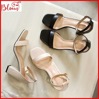 Giày cao gót nữ đế vuông 7 phân mũi vuông da bóng quai ngang sang trọng Giày cao gót nữ 7p BLOOMFASHION GMV01