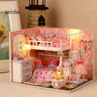 JULA DIY Miniature LED Doll House Furniture Model with Dustproof Cover Toy Xmas Gift