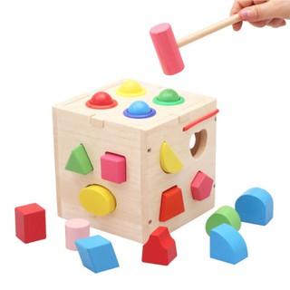 Đồ chơi bằng gỗ thả hình khối, đập bóng phát triển trí tuệ cho bé