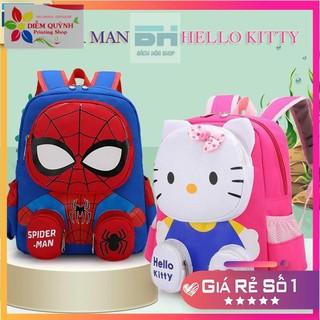 Mẫu mới 2021 – Balo đi học thời trang xinh xắn hình Spider Man, Hello Kitty