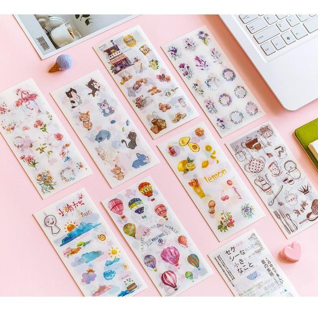 Set 6 tấm sticker tự chọn dễ thương trang trí sổ tay