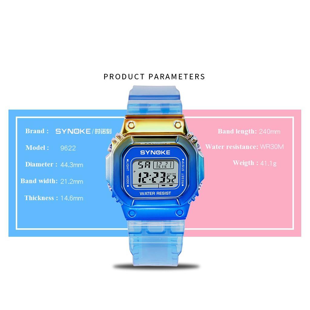 Đồng hồ điện tử thể thao thời trang unisex (nam - nữ) dây nhựa đa sắc Synoke PKHRSNK011