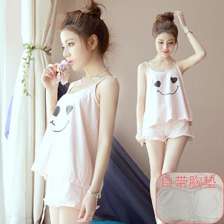 ✌♛☏Pajamas self-wearing chest pad bar free bra cover teen modell sling student Cute two-piece set summer
